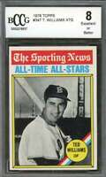Ted Williams Card 1976 Topps #347 Boston Red Sox BGS BCCG 8