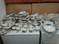 Christopher Stuart Optima HK219 French Brocade cups plates creamer sugar bowls