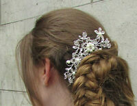 Silver Crystal Leaves Pearl Hair Comb Bridal Vintage Diamante 1920s Flower A15