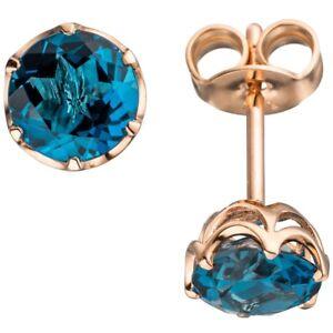 Pair Ear Studs, Blue Topaz London Blue FACET, 585 Gold Rose Gold Earrings