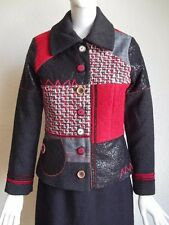 PAUSE CAFE Tweed Boucle Vinyl Mosaic Pieced Fabric Art to Wear Collage Jacket S
