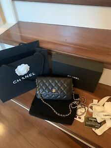 2020 Chanel Classic Flap Bag Wallet On Chain /Black Caviar/Gold Hardware/NIB