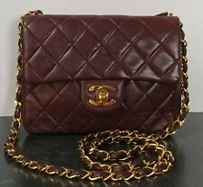 Chanel Vintage Burgundy Lambskin Quilted Mini Classic Flap Bag