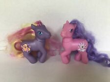 My Little Pony Vintage Set of 2 long brushable colorful hair purple pink Hasbro