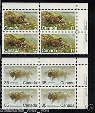 CANADA 1981 Inscription Imprint Block UR Stamp #883-884 Wildlife Marmot & Bison