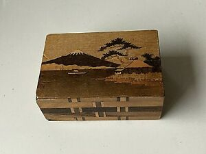 Vintage Japanese Wooden Puzzle Mystery Box Mt. Fuji  japan