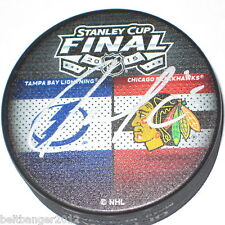 JASON GARRISON (Tampa Bay Lightning) signed 2015 Stanley Cup Dueling puck w/ COA