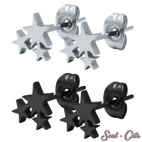 1 Paar Ohrstecker Ohrringe 3 Sterne Stern Sternchen schwarz silber Edelstahl