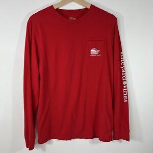 Vineyard Vines Christmas Whale Long Sleeve Pocket Tee T-Shirt Red Boy's XL 18