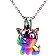 C910 Rainbow Color Cute Dog Essential Oil Diffuser Locket Beads Cage Pendant