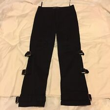 Womens Full Circle Buckle Design Zipped Straight Black Jeans Size 10 Short