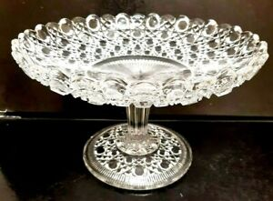 Vintage Antique Hobnail Clear Tall Pressed Glass Footed Comport 6.6 x 9.6 inches
