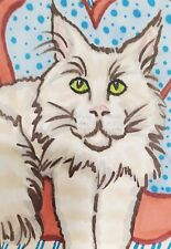 Maine Coon Valentine 8 x 10 Cat Art Giclee Print Collectible Signed Artist Ksams