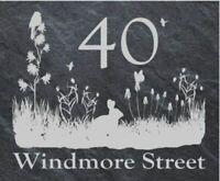 Personalised wildlife scene door plaque, sign, welsh slate, engraved,