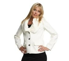 A209421 Luxe Rachel Zoe Blazer with Detachable Faux Fur Collar WINTER WHITE 2X