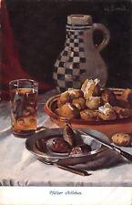 G Ernst~Pfalzer Stilleben~Dinner Table~Sausage Potatos~Checker Wine Jug~1910 PC