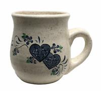 Vtg Hand Painted Pottery Coffee Mug Blue Hearts Flowers Country Farmhouse