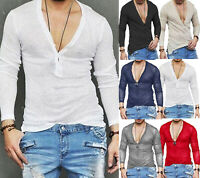 Luxury Men Slim Fit V Neck Long Sleeve Muscle Tee T-shirt Casual  Blouse Top new