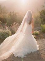 1 Tier Soft White Ivory Cathedral Length 3M Bridal Wedding Veil Cut/Plain Edge