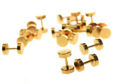 1 Pair Fake Ear Plug Stud Stretcher Tunnel Earring Piercing Stainless Steel