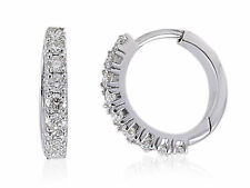 Pave 0.74 Cts Natural Diamonds Hoop Earrings In Solid Certified 18K White Gold