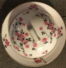"Czechoslovakia Union T Porcelain 7"" Covered Butter Dish Pink Rose Black Vine"