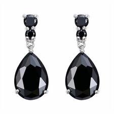 Shine Silver Women Fashion Black Gemstone Stud Drop Hoop Earrings Gift