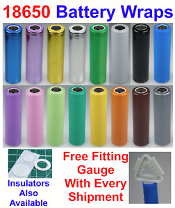 10 X 18650 Battery Wraps - Heat Shrink PVC Sleeves - 16 Colours To Choose From