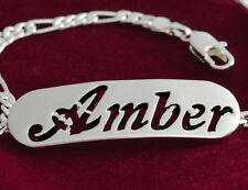 Silver Plated Name Bracelet - AMBER - Gifts for Mother's Valentine's Birthday