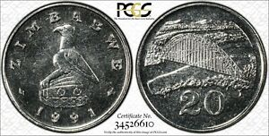 1991 Zimbabwe 20 Cent PCGS SP65 Kings Norton Mint Proof