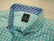 Tailorbyrd Cotton Turquoise  Blue Gingham Check Sport Shirt NWT Large $99.50