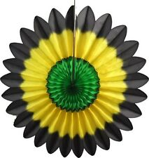 """3-pack 18"""" Jamaican Black Yellow Green Tissue Paper Fanburst by Devra Party"""