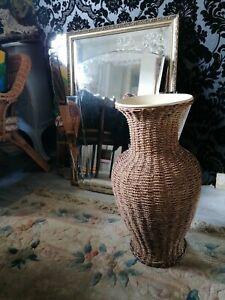 Large free standing  Heavy Wicker Rattan Ornament Vase Vintage Retro 53 cms