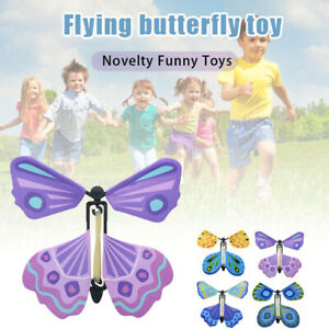 10/20pcs Fluttering Flying Magic Butterfly Wind up Butterfly Flutter Card Prank