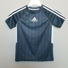 Adidas sz Small 8 Gray White Short Sleeve Shirt Top Boys Climalite Soccer