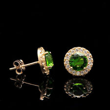2ct Halo Green Peridot Created Crystal Stud Earrings 14k Yellow Gold Round Cut