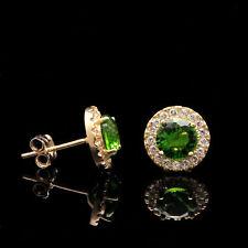 2CT Halo Green Peridot Created Diamond Stud Earrings 14k Yellow Gold Round Cut