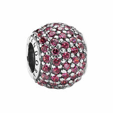 Genuine PANDORA Sterling Silver bead S925 ALE Red Pave Ball Charm - 791051CZR