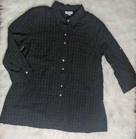 J Jill Size PM Black Button Down 3/4 Sleeve Cotton Shirt Textured