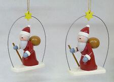 Ellmann 2 Weihnachtsmänner zum Hängen,Original Holz Handwerkskunst/ Erzgebirge