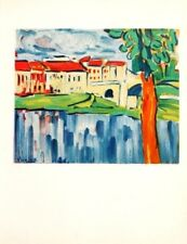 Maurice de Vlaminck Lithograph Limited Chatou With Red Tree Mourlot 1958 Rare