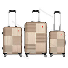 3 Pcs 20'' 24'' 28'' Luggage Set Spinner Trolley Travel Suitcase Coded Lock Gold