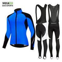 Winter Windproof Biking Clothing Cycling Jacket & Bib Pants Warmer Padded Tights