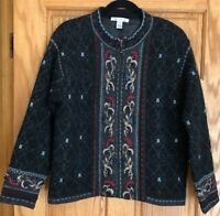 Mac DUFF  Shetland Wool Lined Zip Front Cardigan Sweater  Size M