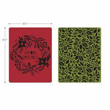 Sizzix Texture Fades Embossing Folders 2PK - Greetings & Greens Set 660042