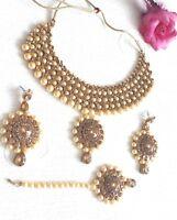 New Indian Bollywood Costume Jewellery Set Choker  Pearl Gold Bronze Wedding