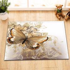 Home Area Rug Golden Flower Butterfly Floor Carpet Non-skid Bath Kitchen Mat