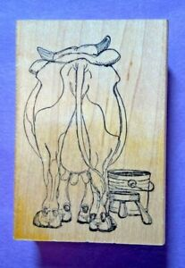 Art Impressions Rubber Stamp T1516 Back Of Cow Bucket Farm Humor Bull VTG