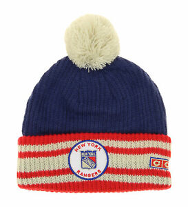 CCM NHL Youth Boys New York Rangers Watch Cuffed Knit Hat with Pom, OSFM