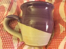 Handmade for CARIBOU COFFEE Purple & Light Gray/Beige Stoneware MUG